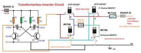 simple transformer less inverter circuit 1000 watt diy electronics projects