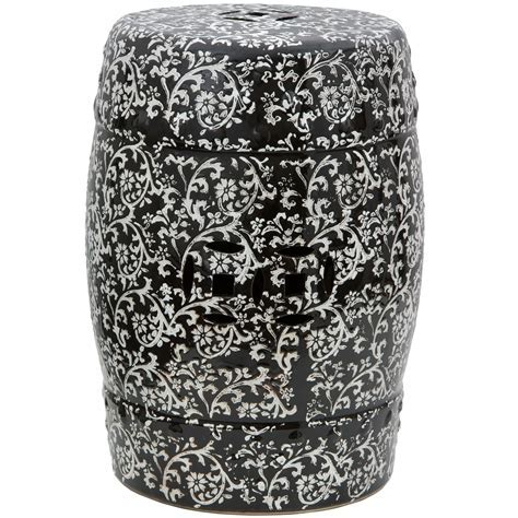 "Buy 18"" Black & White Floral Porcelain Garden Stool Online"