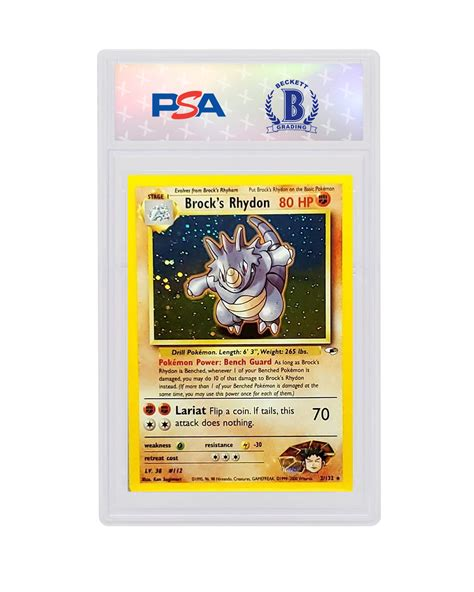 It can swim at a speed of five knots. Brock's Rhydon-Holo 2000 Pokemon TCG Gym Heroes #2/132 - Sports Card King