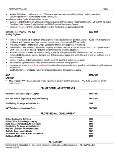 Drilling Fluids Engineer Resume Sle by Ali Khosrowzadeh Ah Drilling Resume After