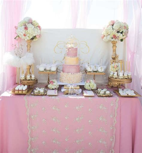 gorgeous pink  gold baptism party   party ideas