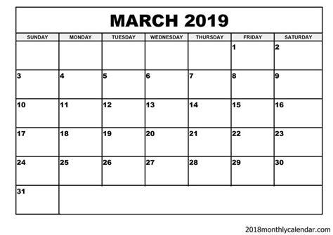 march  calendar blank template editable