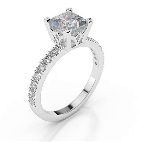 swarovski pb engagement ring with side stones princess 1 carat 1 00ct princess cut