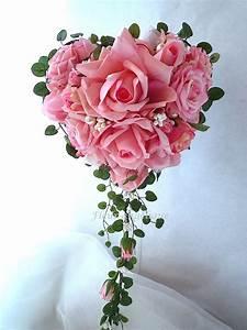 Bouquet Fleurs Blanches : bouquet de mari e rose en forme de coeur perle rose fleur ~ Premium-room.com Idées de Décoration