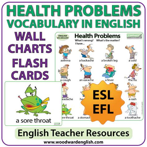 Health Problems In English  Charts  Flash Cards  Woodward English