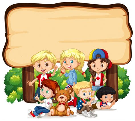 banner with kids wooden sign vector free download