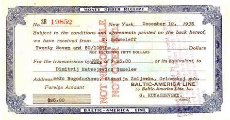 America Line Money Order Receipt