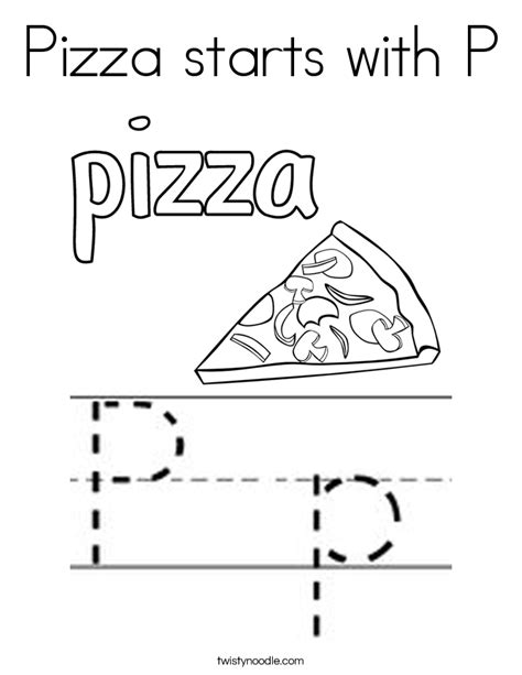 pizza starts with p coloring page twisty noodle 361 | pizza starts with p coloring page