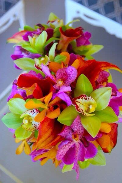 tropical bouquet absolutely love  colors wedding