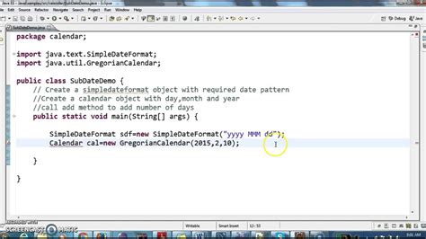 subtract number days date java youtube