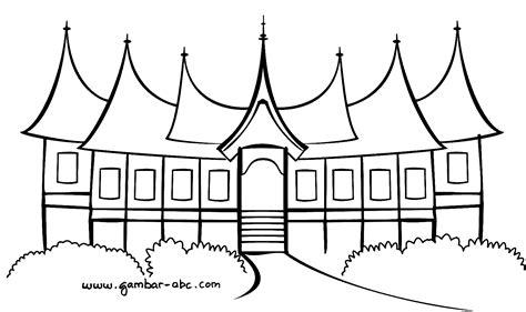 Gambar Rumah Adat Sumatra Barat Hitam Putih Gambar Mewarnai Rumah