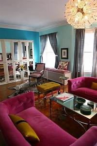 bright colours living room teal wall blue wall pink With blue pink living room ideas