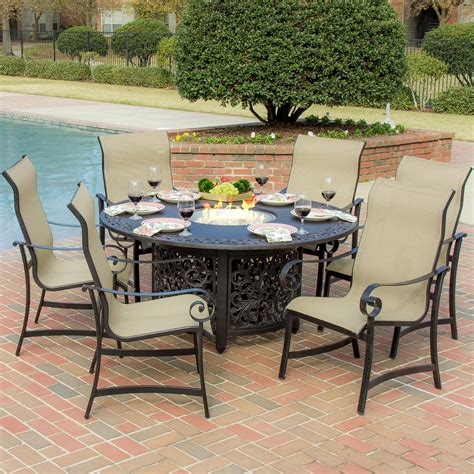 patio furniture fire pit table set la salle 7 piece sling patio dining set with fire pit