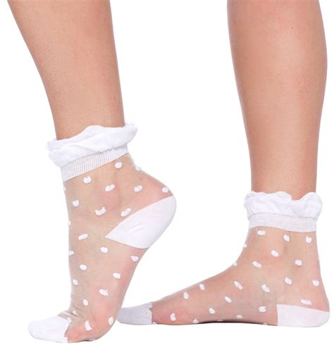 heels special price sheer and dotted lace crew socks white sourpuss clothing