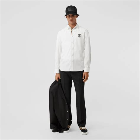 monogram motif stretch cotton poplin shirt  white men burberry united states