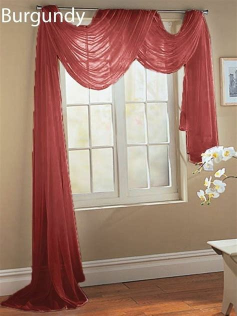 Scarf Drapes - 2 burgundy scarf sheer voile window treatment curtain