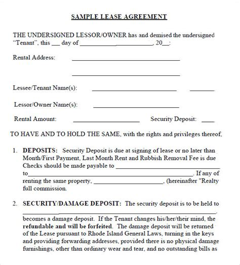 sample leasing agreement templates