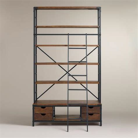 metal ladder shelf metal bookcase and ladder world market