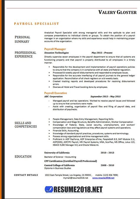 payroll specialist resume templates  resume