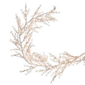 ge 9 ft artificial white winterberry christmas garland with clear lights lowe s canada