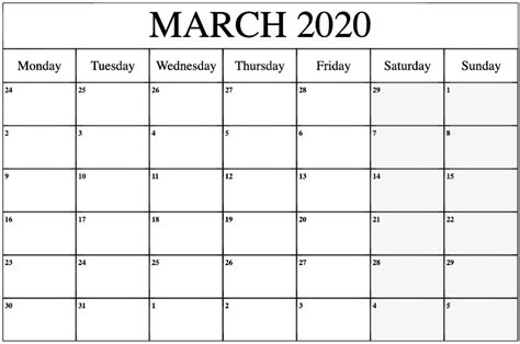 fillable march  calendar template word  excel