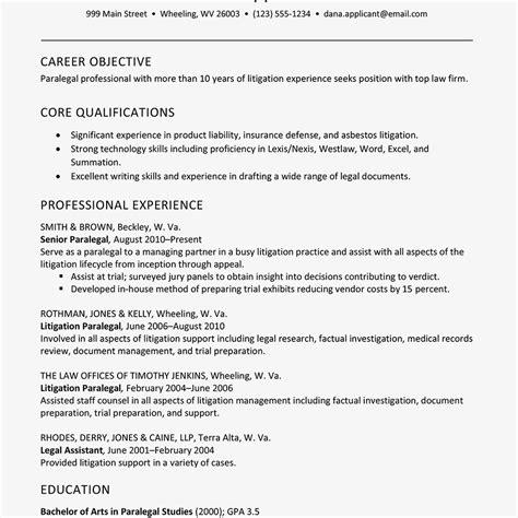 sample resume  litigation paralegal