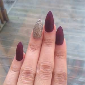 Burgundy with Gold Matte Nails