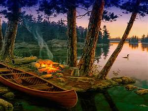 romantic, background, lake, trees, boat, fire, , , wallpapers13, com
