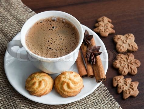 Coffee with cookies on rhe table   Stock Photo   Colourbox