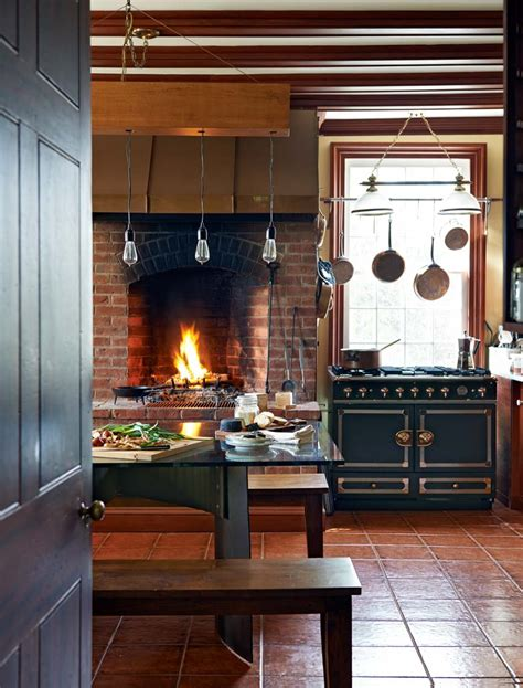 kitchen fireplace ideas rustic modern kitchen with fireplace trophy cook stove interior design decorating ideas
