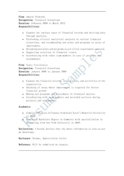 resume sles financial consultant resume