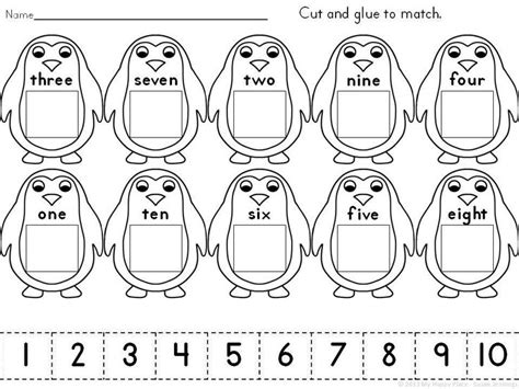 find a match math worksheet  oaklandeffect cut and glue penguins match numerals to number words