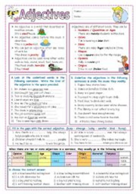 worksheets adjectives kinds order and comparison