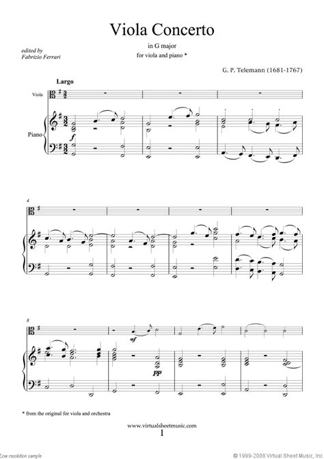 These sheet music are mostly traditional celtic music, but some are world music, classical music, or popular music. Telemann - Viola Concerto in G major sheet music for viola and piano