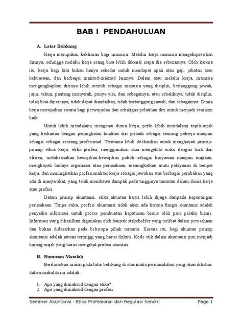 makalah etika profesional dan regulasi sendiri