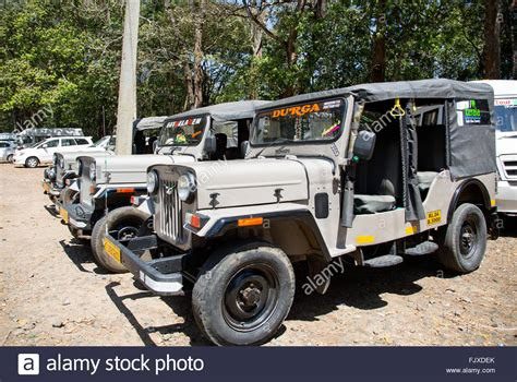 jeep mahindra indian mahindra jeeps in the munnar hills kerala stock