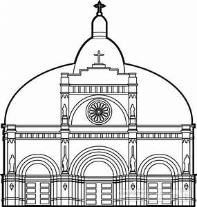 Architecture : cathedral-front-view-bw-outline : Classroom ...