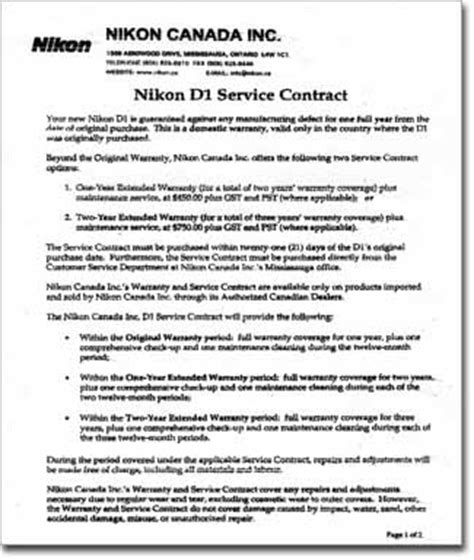 service agreement contract rob galbraith dpi nikon canada offers d1 service agreement