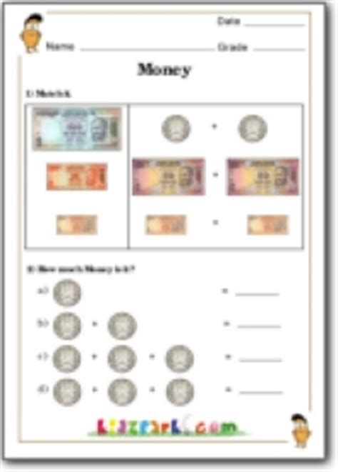 addition  coins money activity worksheet  class