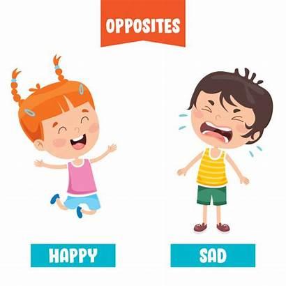 Opposite Adjectives Cartoon Happy Drawings Premium Bad