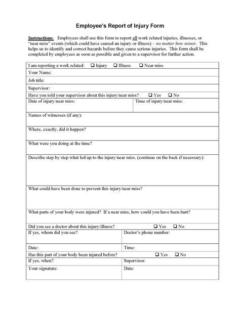 employee injury report form write  template