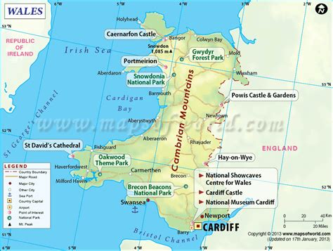 wales map  showing counties cities towns  wales