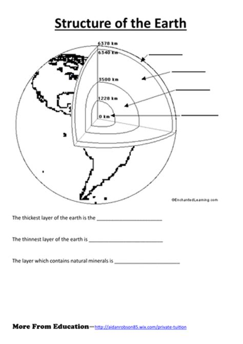 structure   earth worksheet  jkmoss teaching