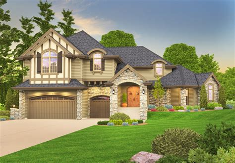 Distinctive Tudor House Plan With Casita  85069ms
