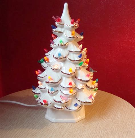 vintage white ceramic lighted christmas tree gold trim