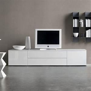 Meuble Tv Blanc Laqué : meuble tv moderne 30 designs uniques et conseils pratiques ~ Teatrodelosmanantiales.com Idées de Décoration