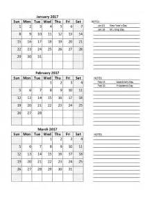 Printable Quarterly Calendar Template 2017