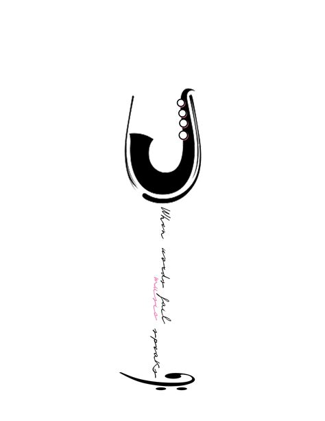 """""""When words fail, music speaks."""" I don't quite understand why it is a wine glass, but I like the"""