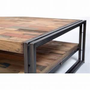 Table Basse Industrielle Carrée : table basse carr e style industrielle en m tal et bois recycl ~ Teatrodelosmanantiales.com Idées de Décoration