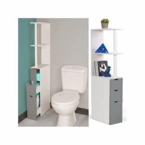 Etagere Papier Toilette : idmarket meuble wc tag re bois blanc et gris gain de place pour toilettes 3 portes 136cm x ~ Teatrodelosmanantiales.com Idées de Décoration